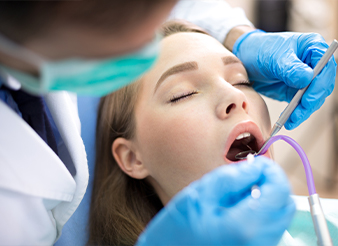 Relaxed patient during dental treatment