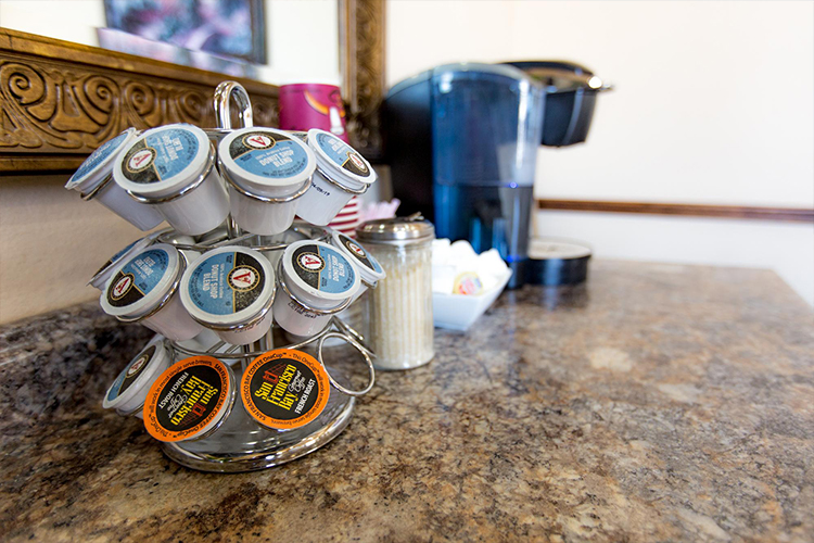 Keurig coffee pods in waiting area