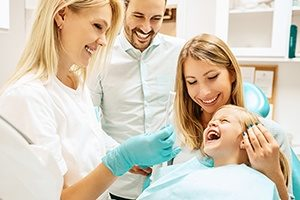 Family at dentist office